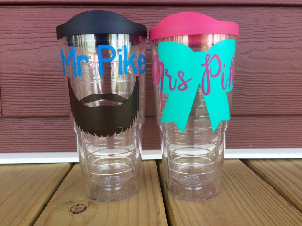 Mr. and Mrs. Honeymoon Tumblers - DIY Using a Cricut Die Cut Machine and Vinyl